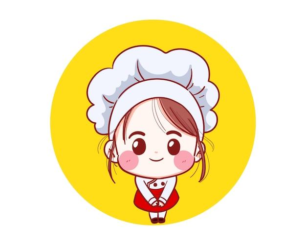 Menina chef sorrindo feliz está cozinhando com uma ilustração de cozinha feliz