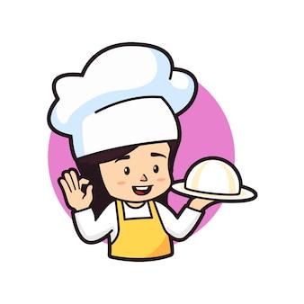 Menina chibi segurando o prato de prata