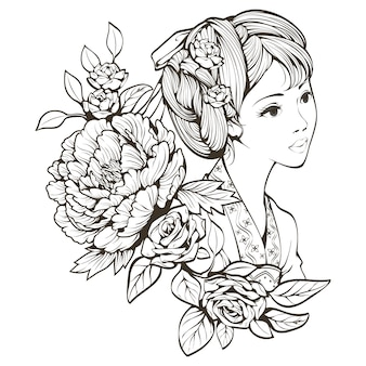 Menina chinesa antiga e linha de arte de flores
