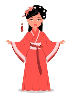 Menina chinesa em roupas tradicionais