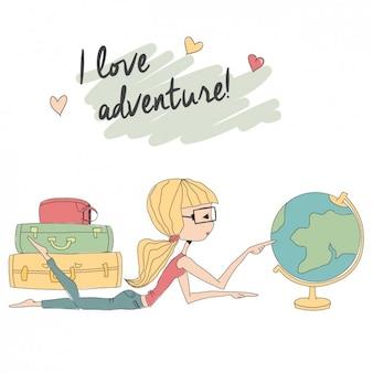 Menina choising destino de viagem