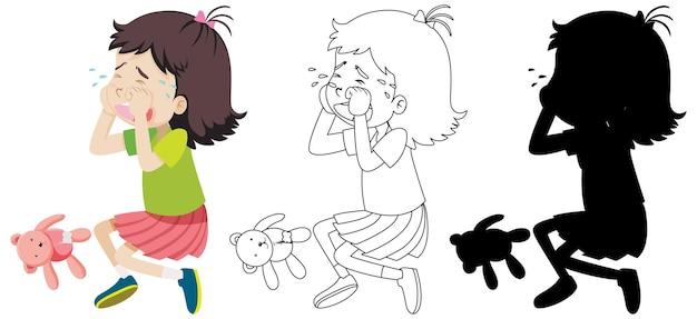 Menina chorando com seu contorno e silhueta