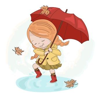Menina chuva temporada de guarda-chuva de outono