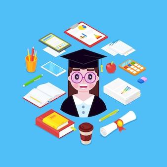 Menina cientista com estacionário - livros, caneta, lápis, calculadora