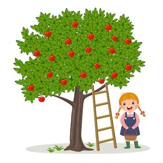 Menina colhendo maçãs