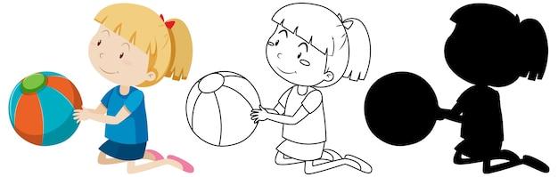 Menina com a bola em cores, contornos e silhueta