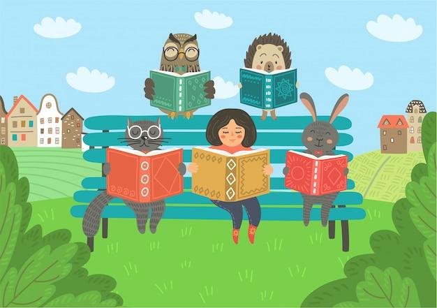Menina com animais lendo livro no banco ao ar livre. educação infantil, ilustração de leitura.