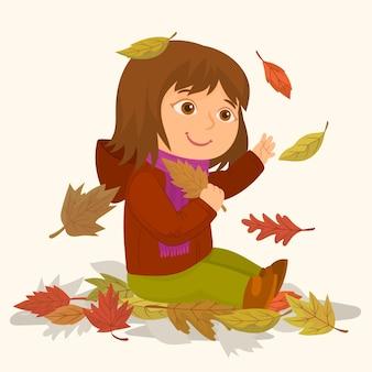 Menina, com, árvore secada, folhas