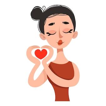 Menina com as mãos em forma de um coração ilustração retro do vetor cartaz para a sala
