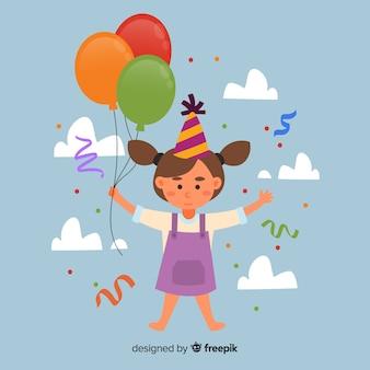Menina, com, balões, aniversário, fundo