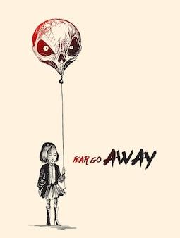 Menina com balões em forma de crânio com o texto fear go away