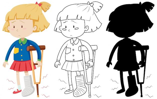 Menina com bandagem de perna quebrada elenco andando usando muletas na cor e no contorno e silhueta