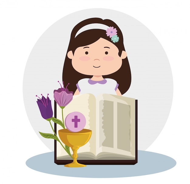 Menina com bíblia e cálice à primeira comunhão