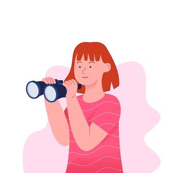 Menina com binóculo em design plano