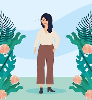 Menina com blusa e plantas roupas casuais com penteado