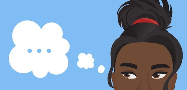 Menina com bolha de pensamento, mulher bonita pensa