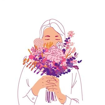 Menina com buquê pf flores saudações