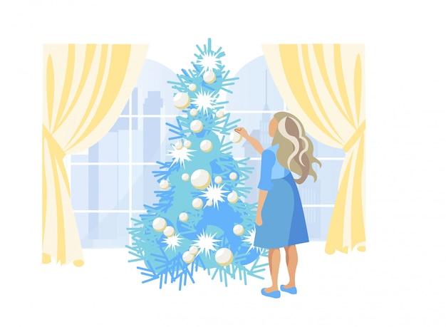 Menina com cabelo loiro, decorar a árvore de natal
