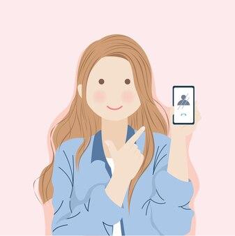 Menina com cabelos castanhos compridos exibindo alegremente o telefone