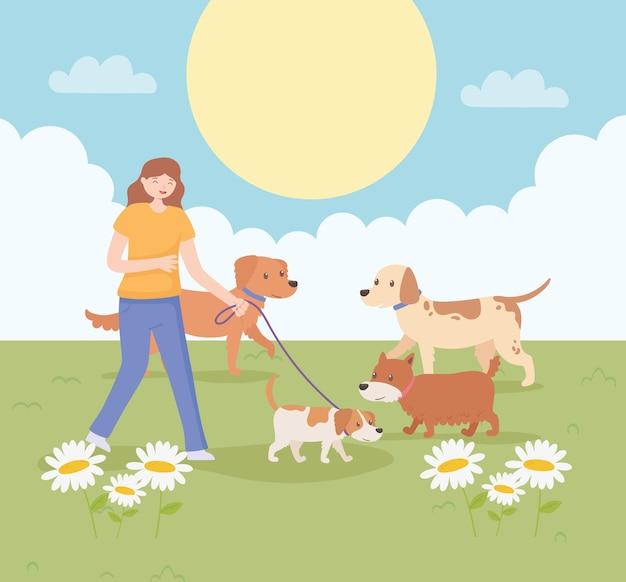 Menina com cachorros passeando