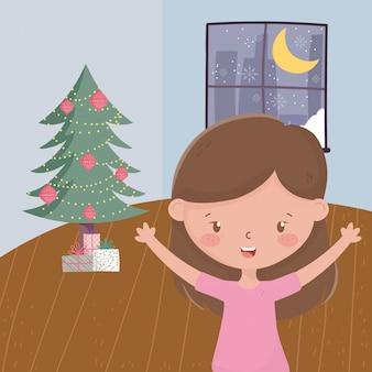 Menina com caixas de presente de árvore sala noite janela celebração feliz natal