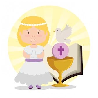 Menina com cálice e bíblia para a primeira comunhão