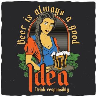 Menina com canecas de cerveja