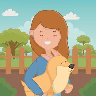 Menina, com, cão, caricatura, desenho