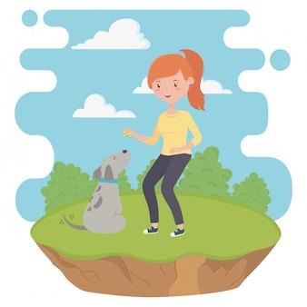 Menina, com, cão, caricatura