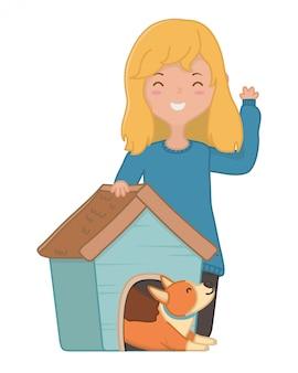 Menina, com, cão, de, caricatura