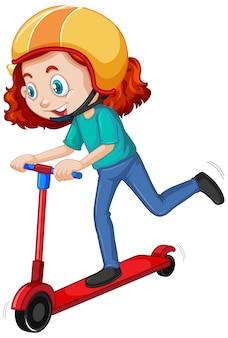 Menina com capacete jogando scooter