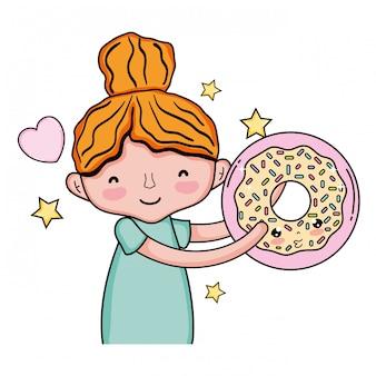 Menina com caráter de kawaii doce donut