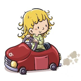 Menina com carro vermelho