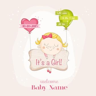 Menina com cartão de chá de bebê com balões