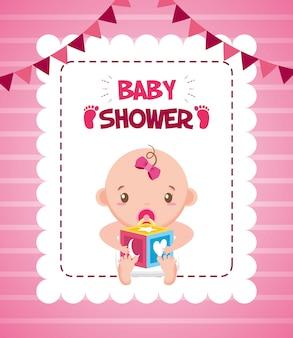 Menina com cartão de chuveiro de bebê de cubo