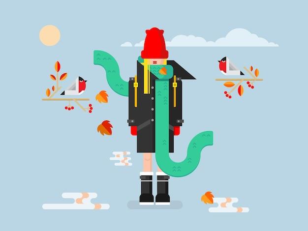 Menina com casaco. moda feminina, jovem, beleza e ilustração vetorial bonita e plana