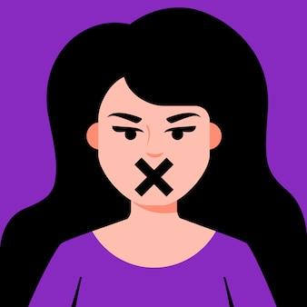 Menina com censura de boca fechada para mulheres