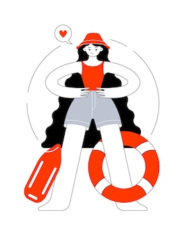 Menina com chapéu-panamá e maiô trabalha como salva-vidas no mar