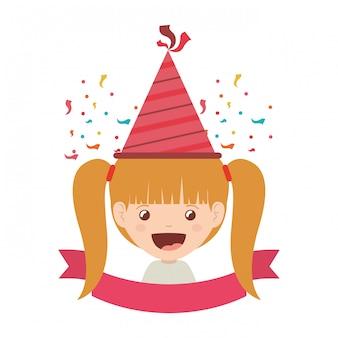 Menina, com, chapéu partido, em, aniversário, celebração
