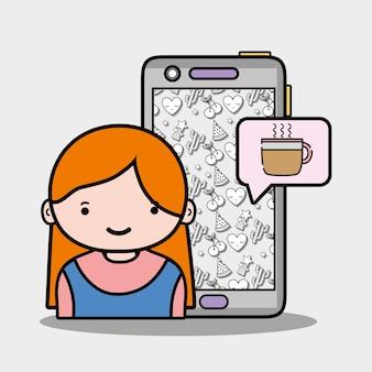 Menina com conversa com smartphone e cafeteleira