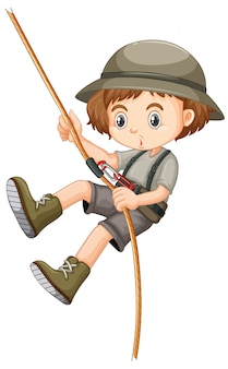 Menina com corda de escalada de roupa de safari