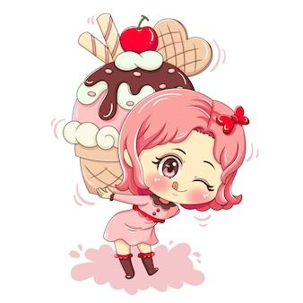 Menina com cupcake enorme