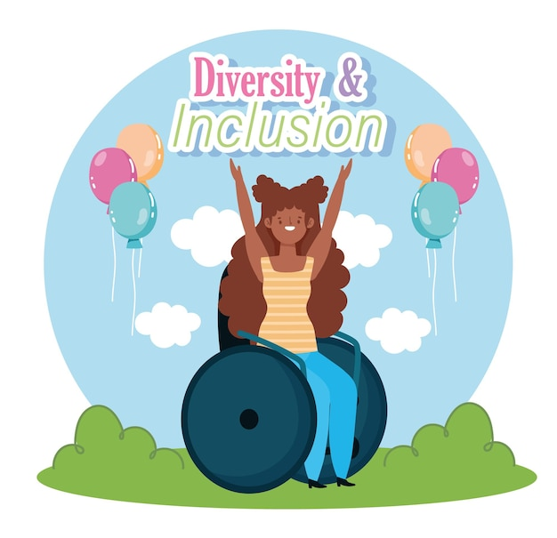 Menina com deficiência sentada em uma cadeira de rodas comemorando, ilustração de inclusão