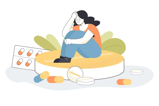 Menina com depressão, sentado na grande pílula. mulher lutando contra a ansiedade com antidepressivos e drogas hormonais, ilustração plana de placebo para viciado