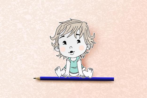 Menina com desenho à mão e estilo recortado.