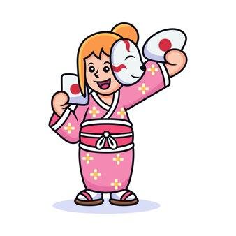 Menina com desenho animado traje japonês. ilustração em vetor ícone, isolada em vetor premium