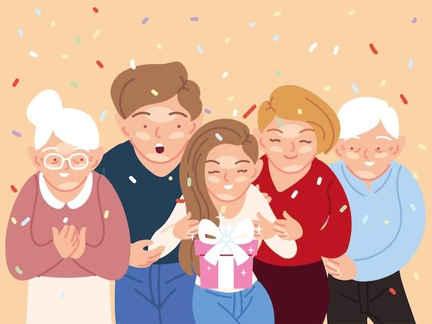 Menina com desenhos animados de pais e avós abrindo presente, feliz festa de decoração de festa de aniversário e ilustração de tema surpresa