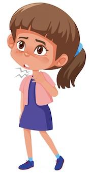 Menina com dor de garganta em branco