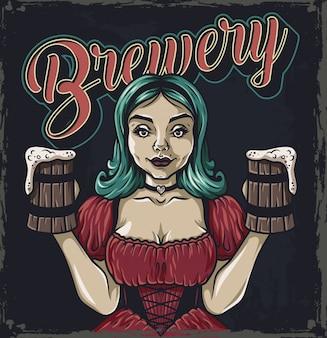 Menina com duas canecas de cerveja logotipo emblema bar menu