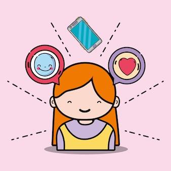 Menina com emoji e mensagem de bolha de bate-papo
